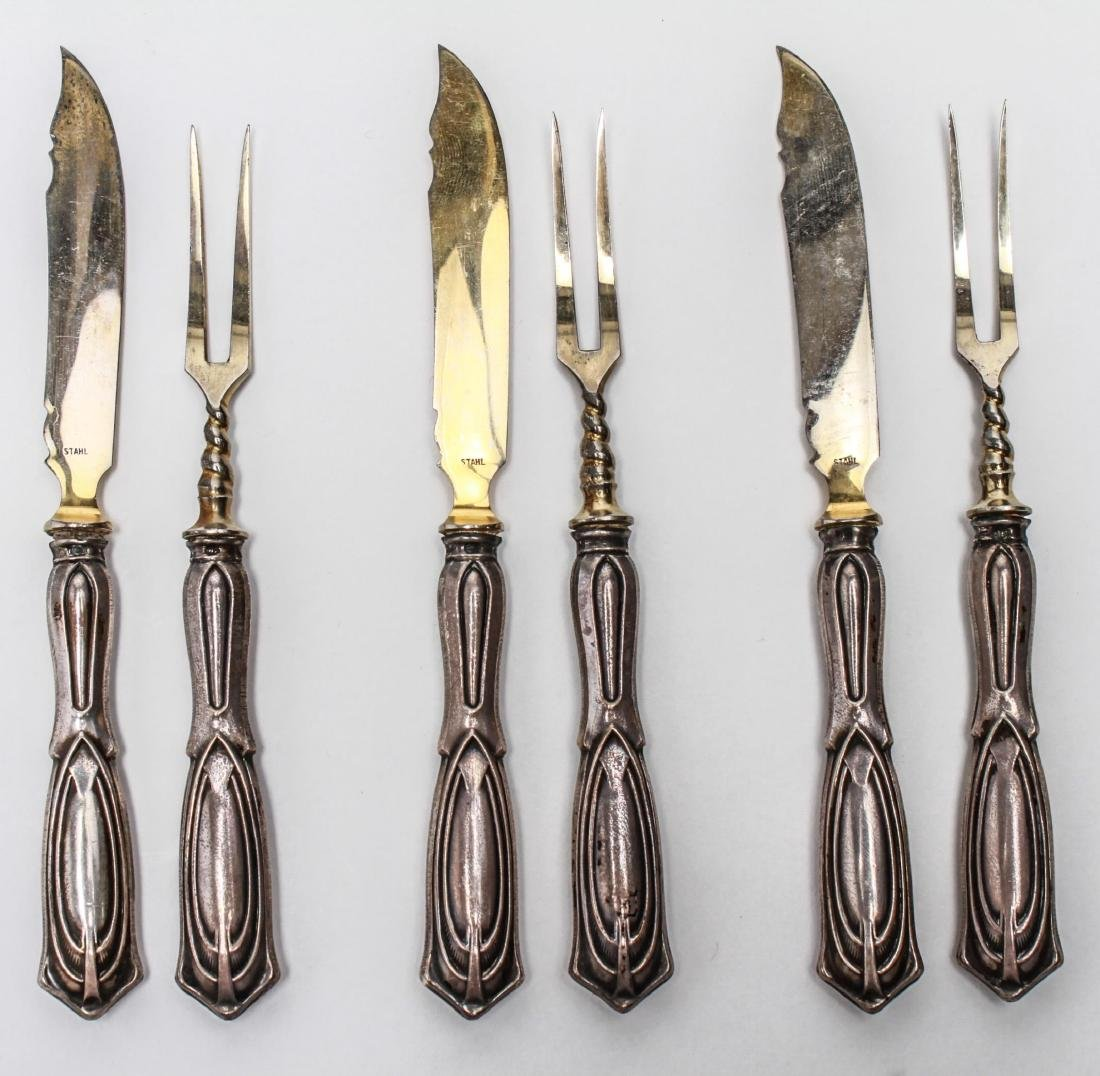 Art Deco Silver Hors d'oeuvres Forks & Knives, 12