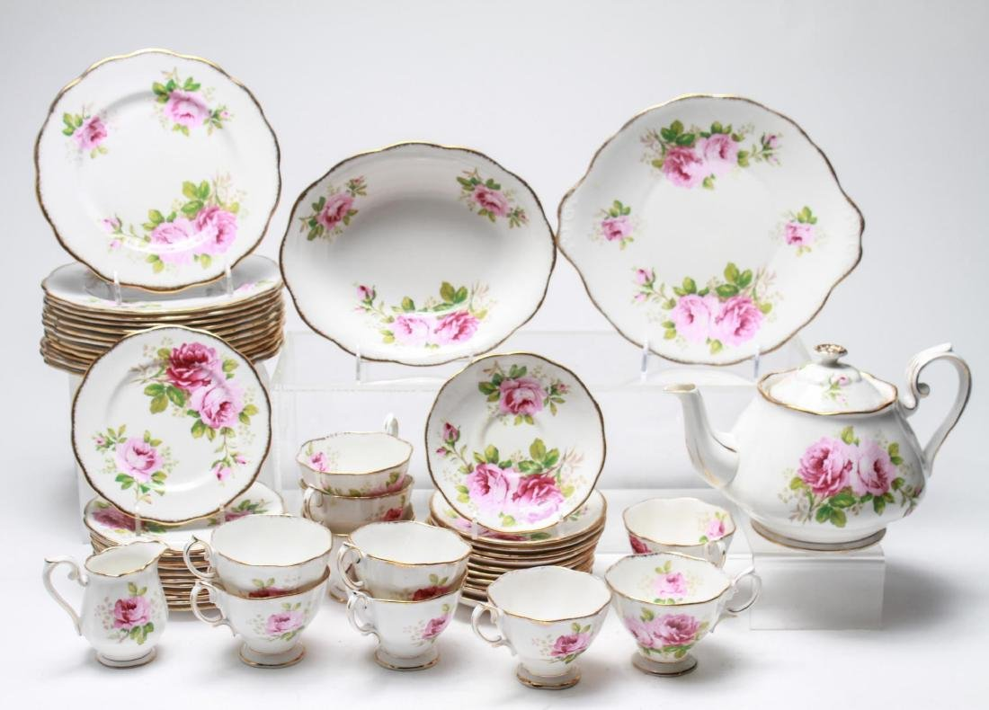 "Royal Albert "" American Beauty"" Bone China Tea Svc"