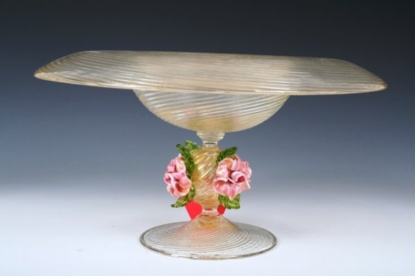 510: Barovier Murano Glass Tazza with Pink Roses c1940s