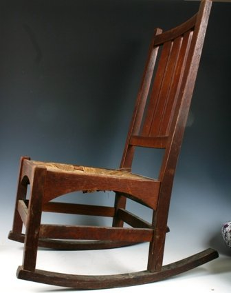 514: Gustave Stickley Sewing Rocker with Rush Seat