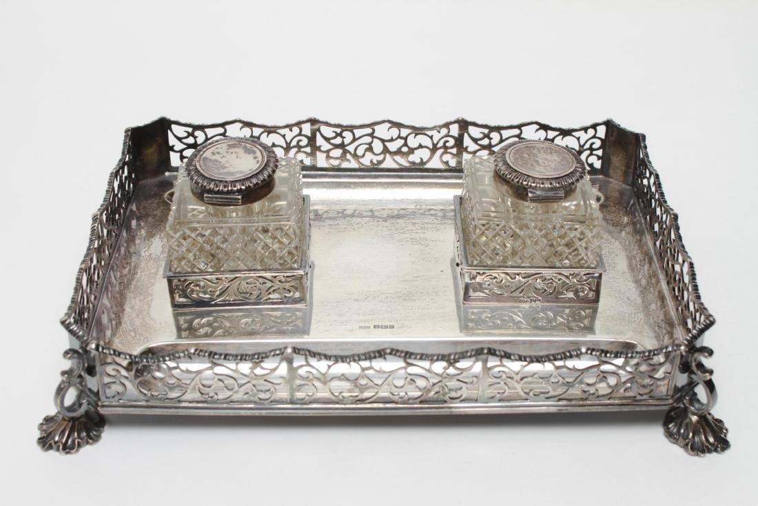 Sterling & Cut-Crystal James Dixon & Sons Inkwells