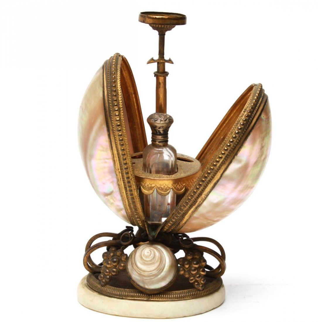 French Nautilus Shell & Ormolu Mechanical Holder