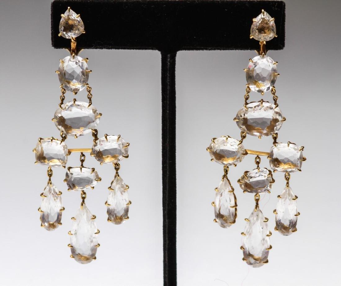 18K Gold & Crystal Quartz Dangle Earrings, Pr