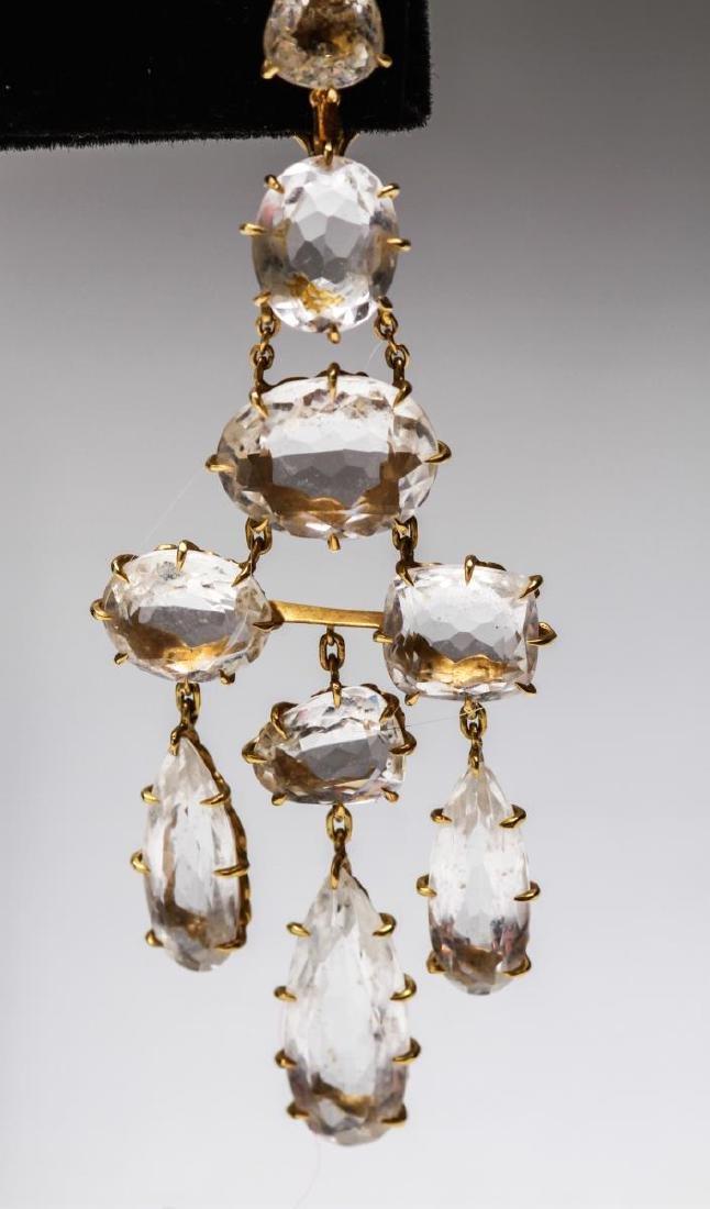 18K Gold & Crystal Quartz Dangle Earrings, Pr - 2