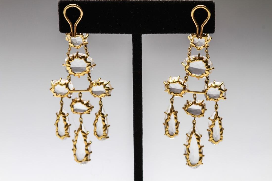 18K Gold & Crystal Quartz Dangle Earrings, Pr - 3
