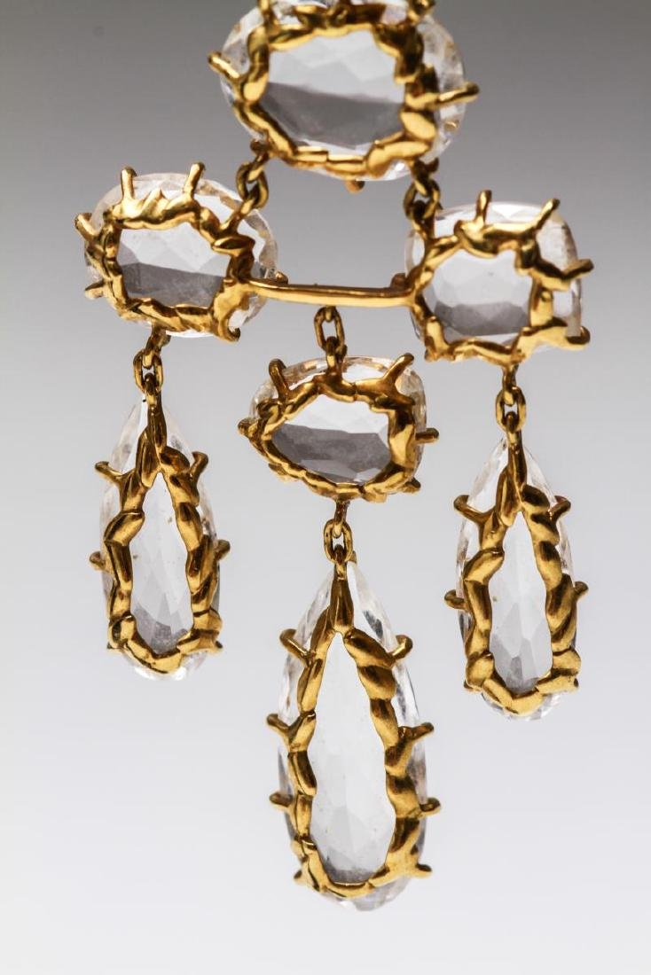 18K Gold & Crystal Quartz Dangle Earrings, Pr - 4