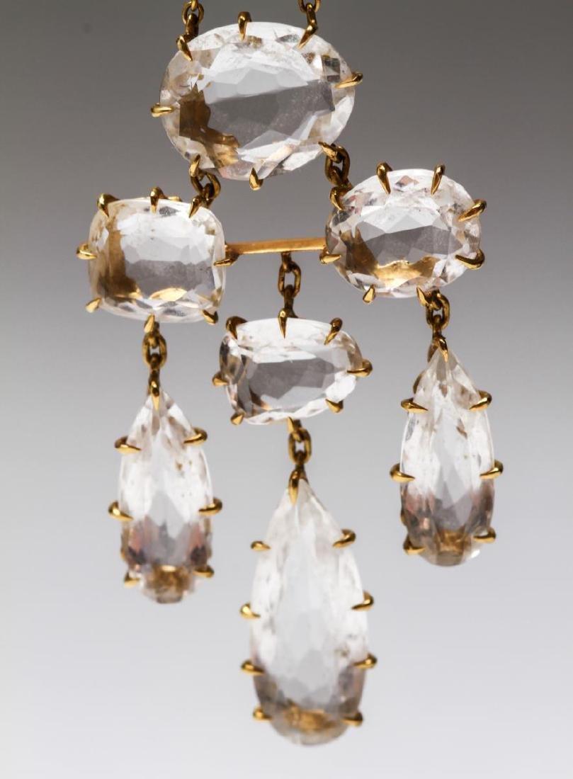 18K Gold & Crystal Quartz Dangle Earrings, Pr - 5