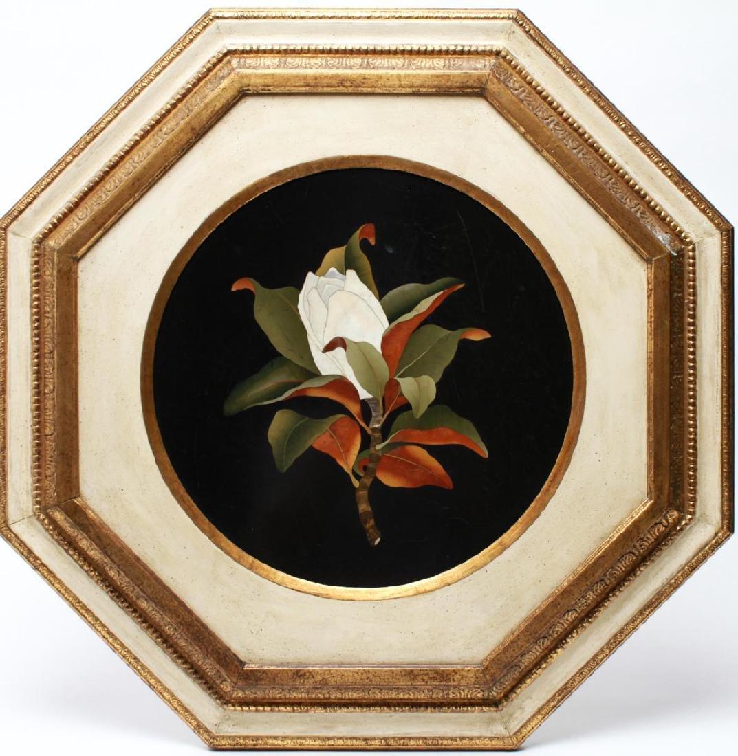 Italian Pietra Dura Magnolia Blossom Plaque