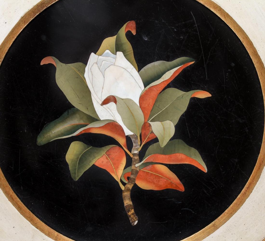 Italian Pietra Dura Magnolia Blossom Plaque - 2