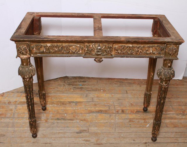 Italian Gilt & Painted Wood Console Table, 18th C - 10