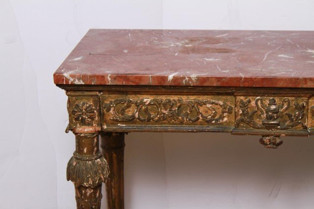 Italian Gilt & Painted Wood Console Table, 18th C - 2