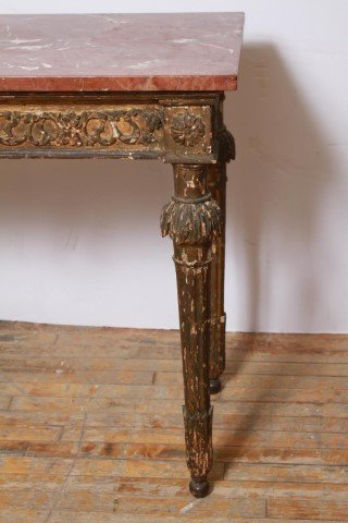 Italian Gilt & Painted Wood Console Table, 18th C - 3