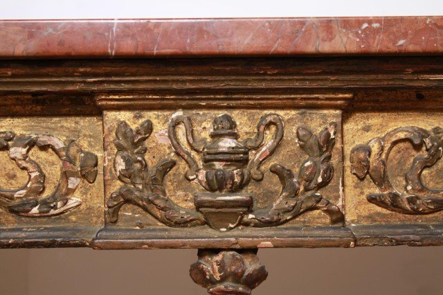 Italian Gilt & Painted Wood Console Table, 18th C - 5
