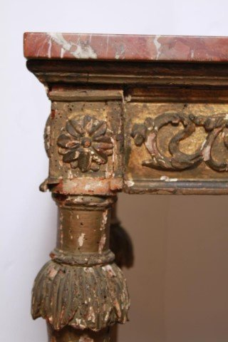 Italian Gilt & Painted Wood Console Table, 18th C - 6