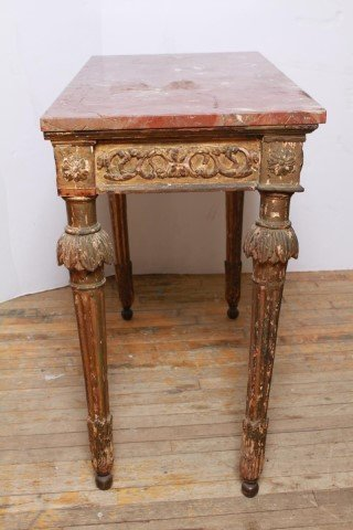 Italian Gilt & Painted Wood Console Table, 18th C - 7