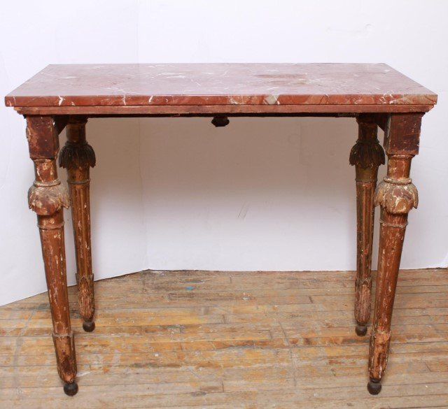 Italian Gilt & Painted Wood Console Table, 18th C - 8