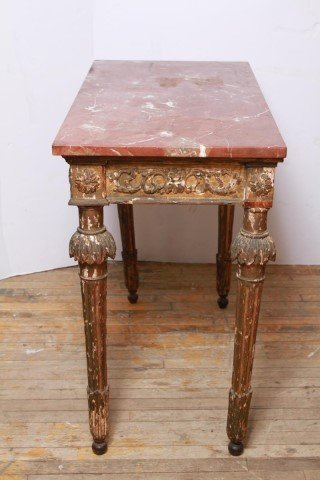 Italian Gilt & Painted Wood Console Table, 18th C - 9