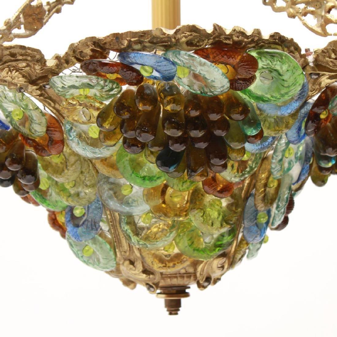 Murano Venetian Glass Grapes & Flowers Chandelier - 3