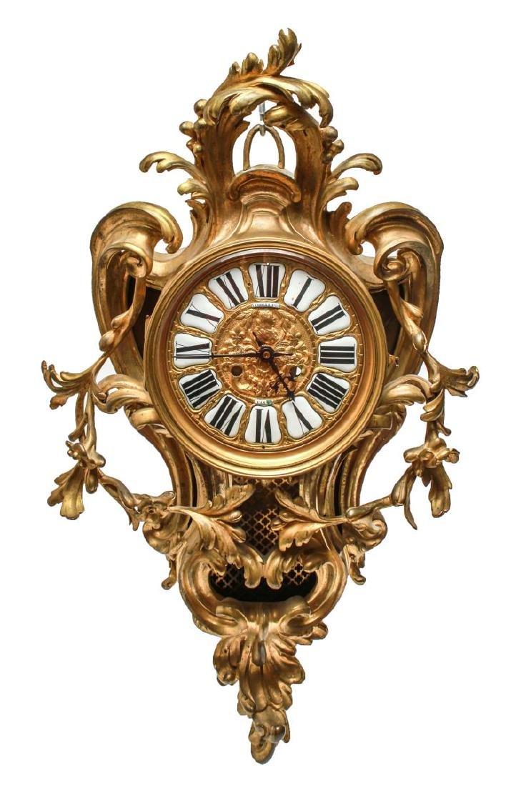 Lerolle Freres Gilt Bronze Cartel Clock c. 1870
