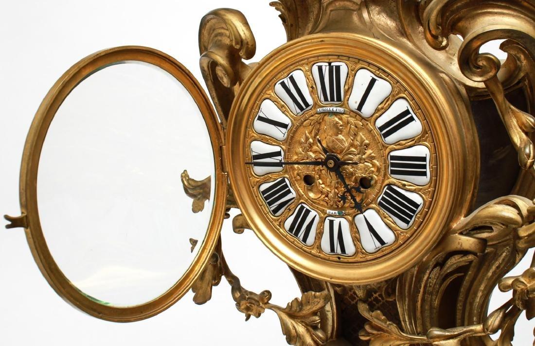 Lerolle Freres Gilt Bronze Cartel Clock c. 1870 - 3