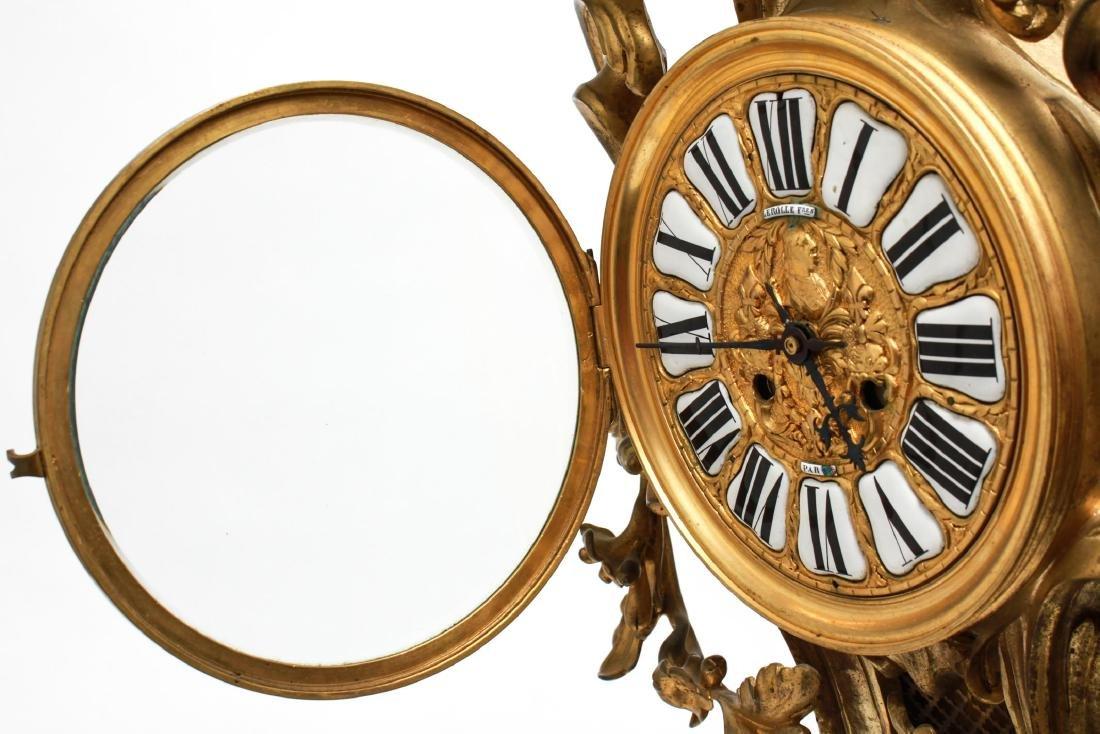 Lerolle Freres Gilt Bronze Cartel Clock c. 1870 - 4