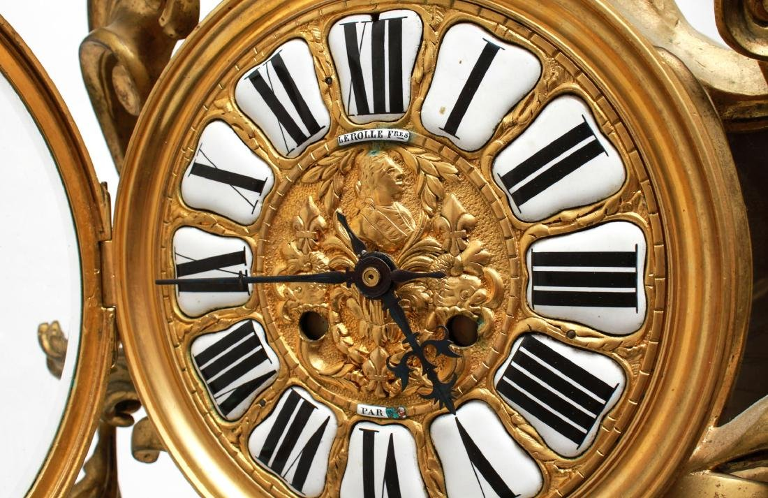 Lerolle Freres Gilt Bronze Cartel Clock c. 1870 - 8