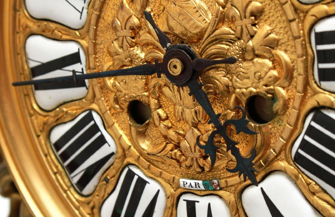 Lerolle Freres Gilt Bronze Cartel Clock c. 1870 - 9