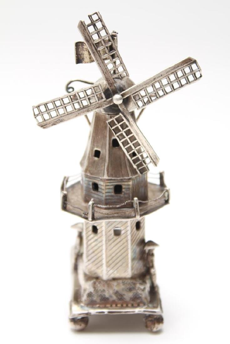 Dutch Silver Articulated Wind Mill w Figures
