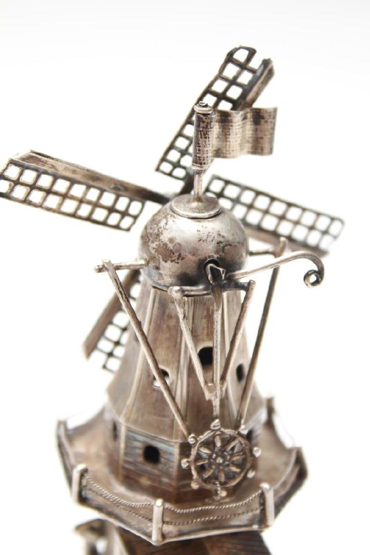 Dutch Silver Articulated Wind Mill w Figures - 8