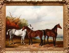 Henry Barraud Equestrian Portraits  3 Horses Oil