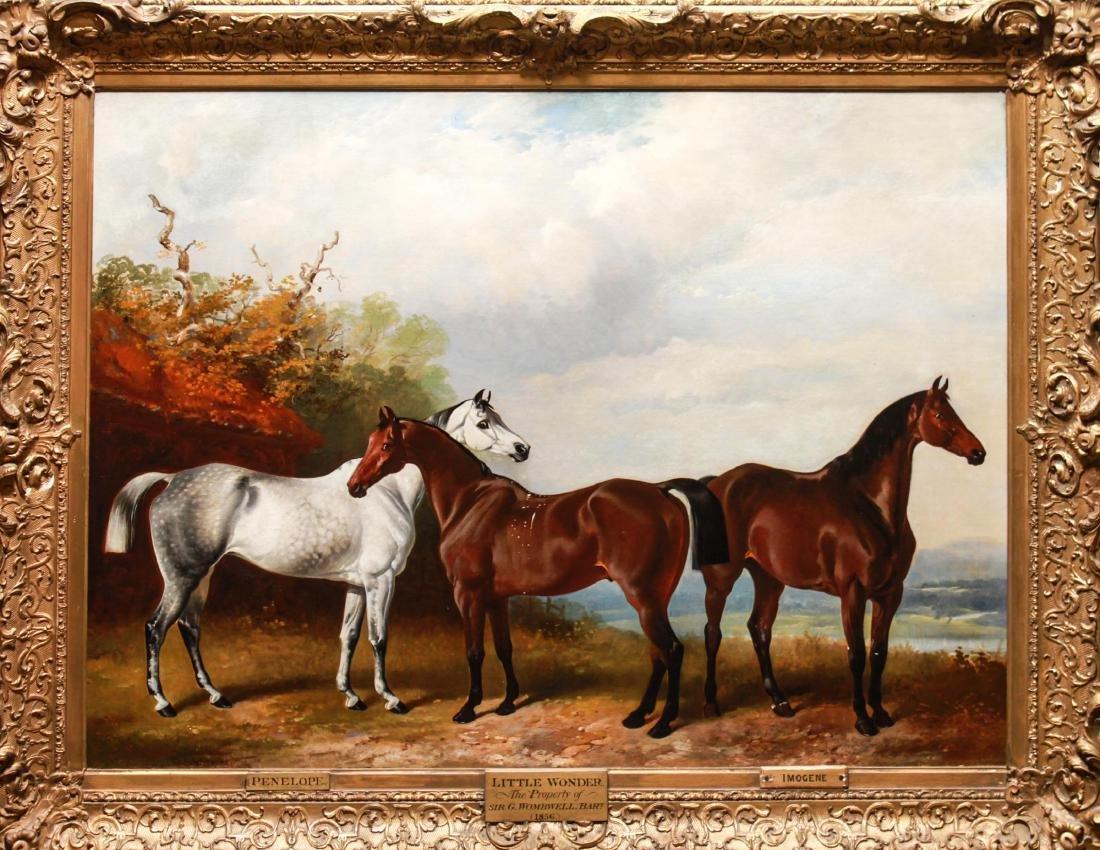 Henry Barraud Equestrian Portraits - 3 Horses, Oil
