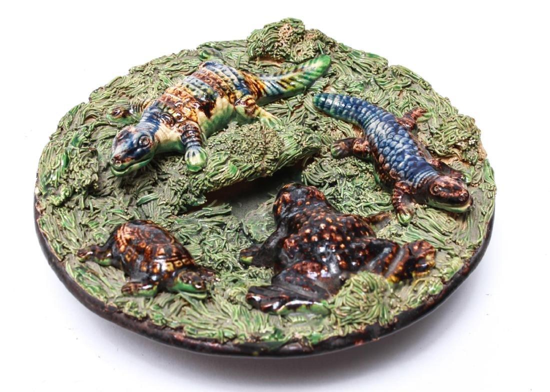 Palissy -Manner Majolica Amphibians Wall Plate