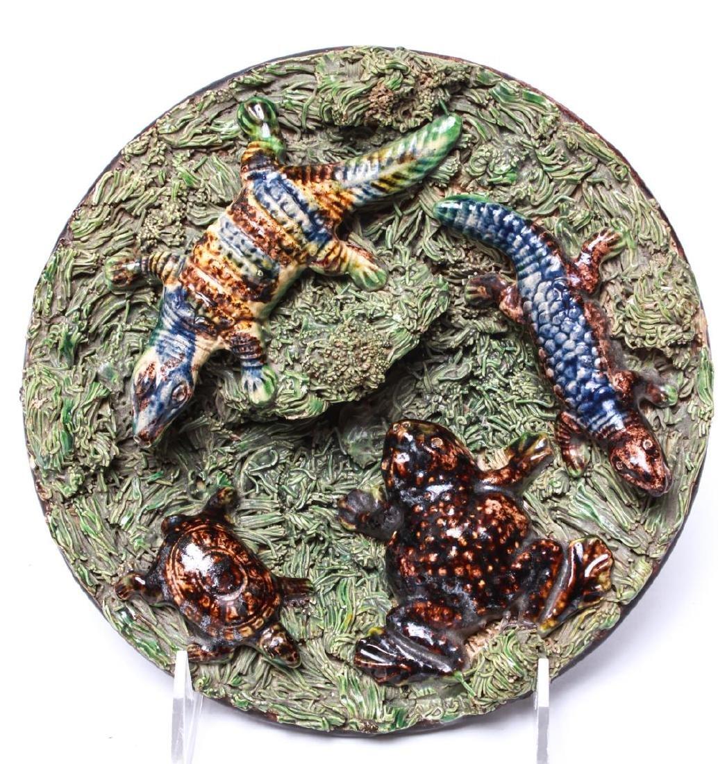 Palissy -Manner Majolica Amphibians Wall Plate - 2