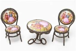 Limoges Miniature Dollhouse Table  2 Chairs