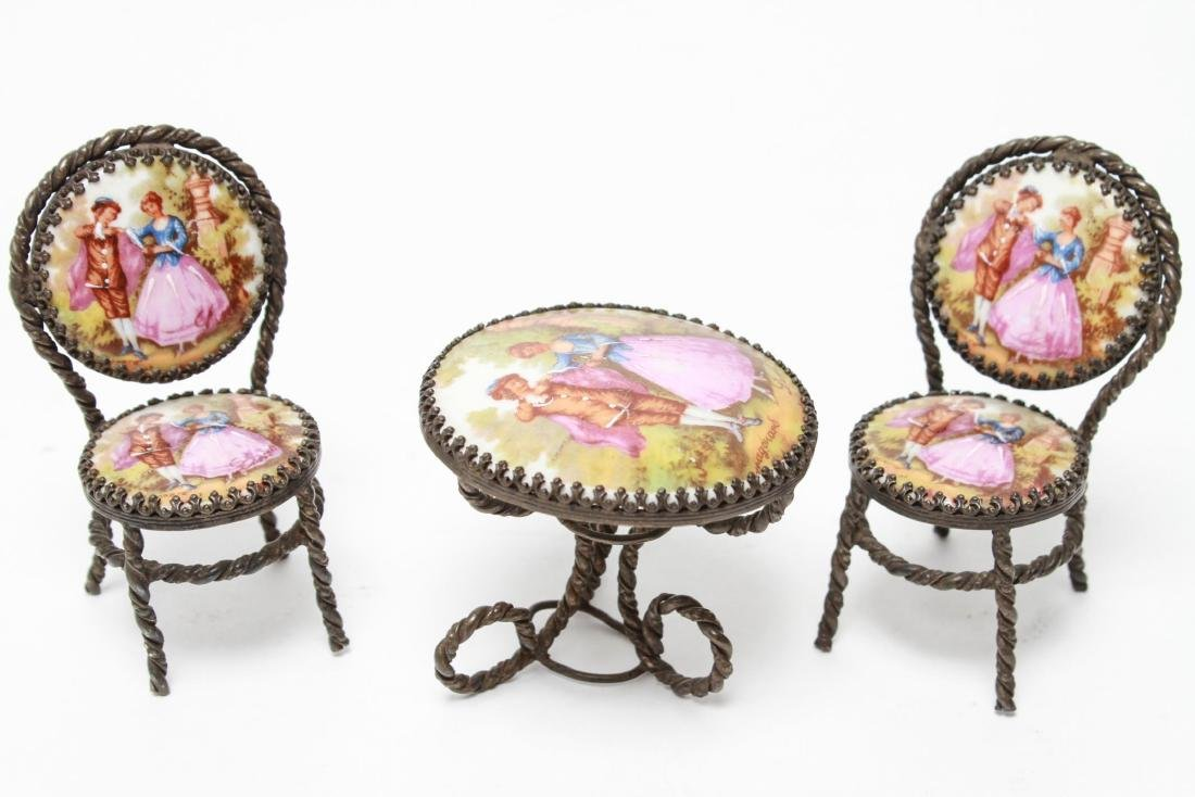 Limoges Miniature Dollhouse Table & 2 Chairs