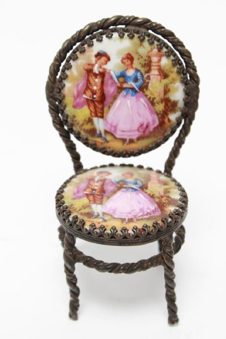 Limoges Miniature Dollhouse Table & 2 Chairs - 2