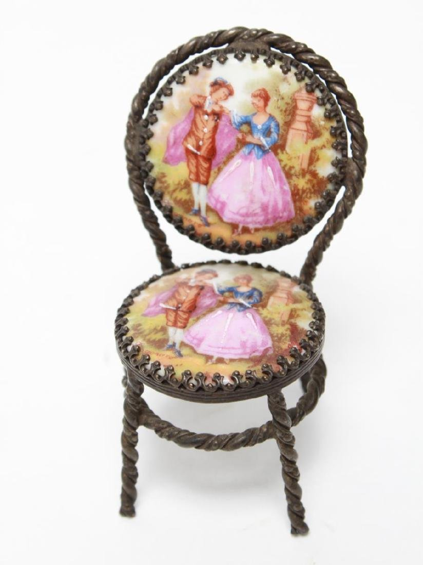 Limoges Miniature Dollhouse Table & 2 Chairs - 3
