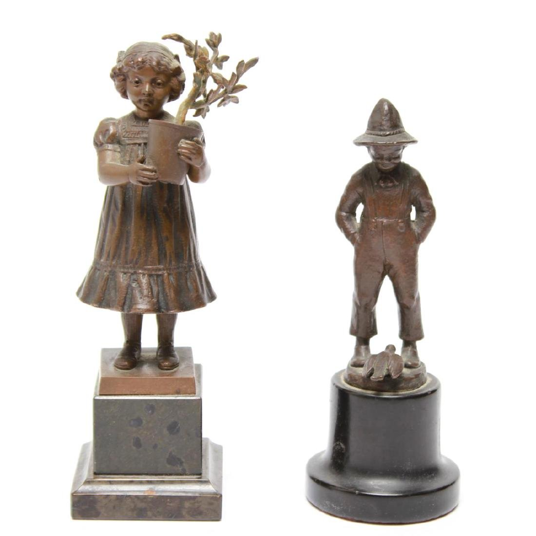 Bronze Sculptures of a Young Girl & Boy, 2