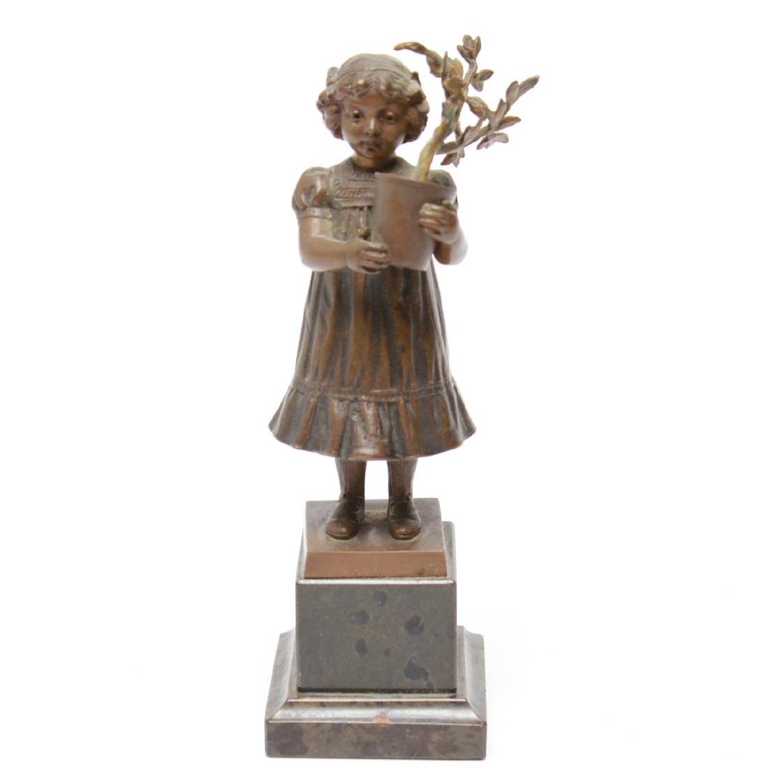 Bronze Sculptures of a Young Girl & Boy, 2 - 8