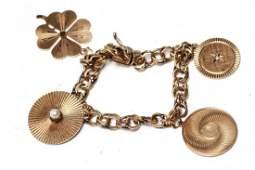 14K Gold Diamond & Pearl 4 Large Charms Bracelet