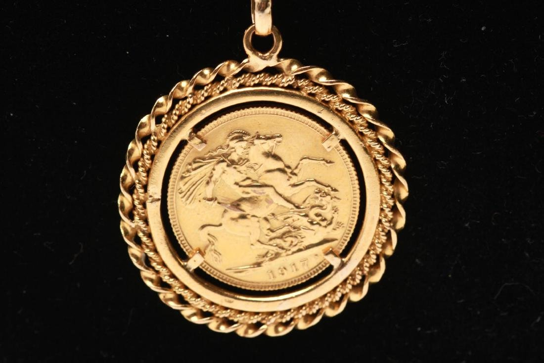 18K Pendant & Gold British Sovereign Coin 1917 - 2