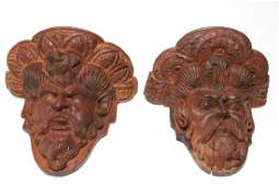Continental Carved Wood Head Wall Brackets Antique
