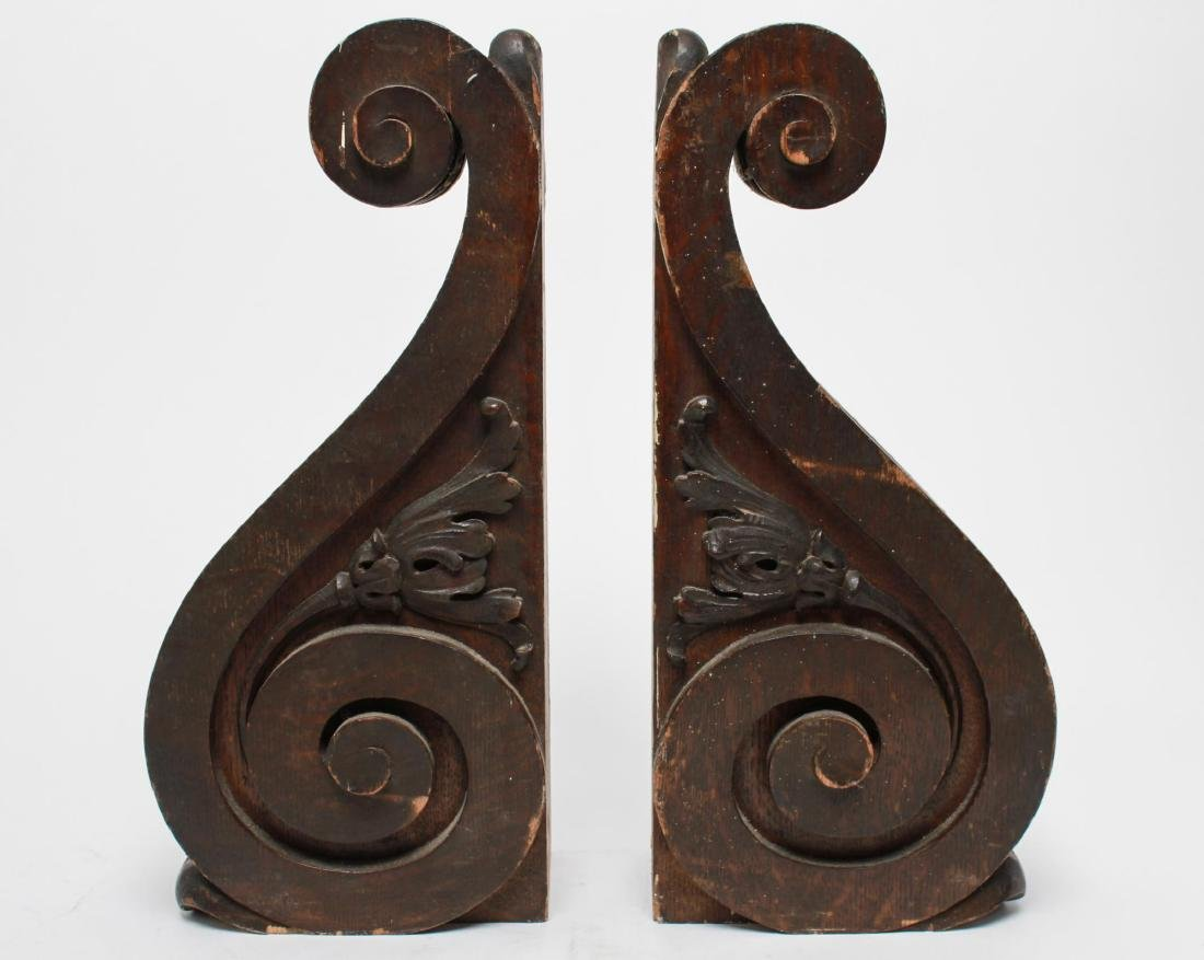 Architectural Corbels, Carved Oak, Antique Pair
