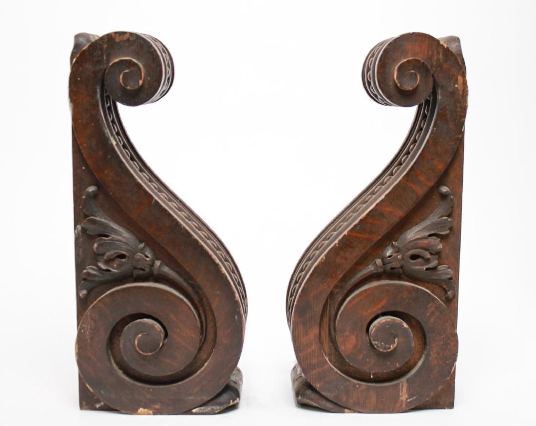 Architectural Corbels, Carved Oak, Antique Pair - 3