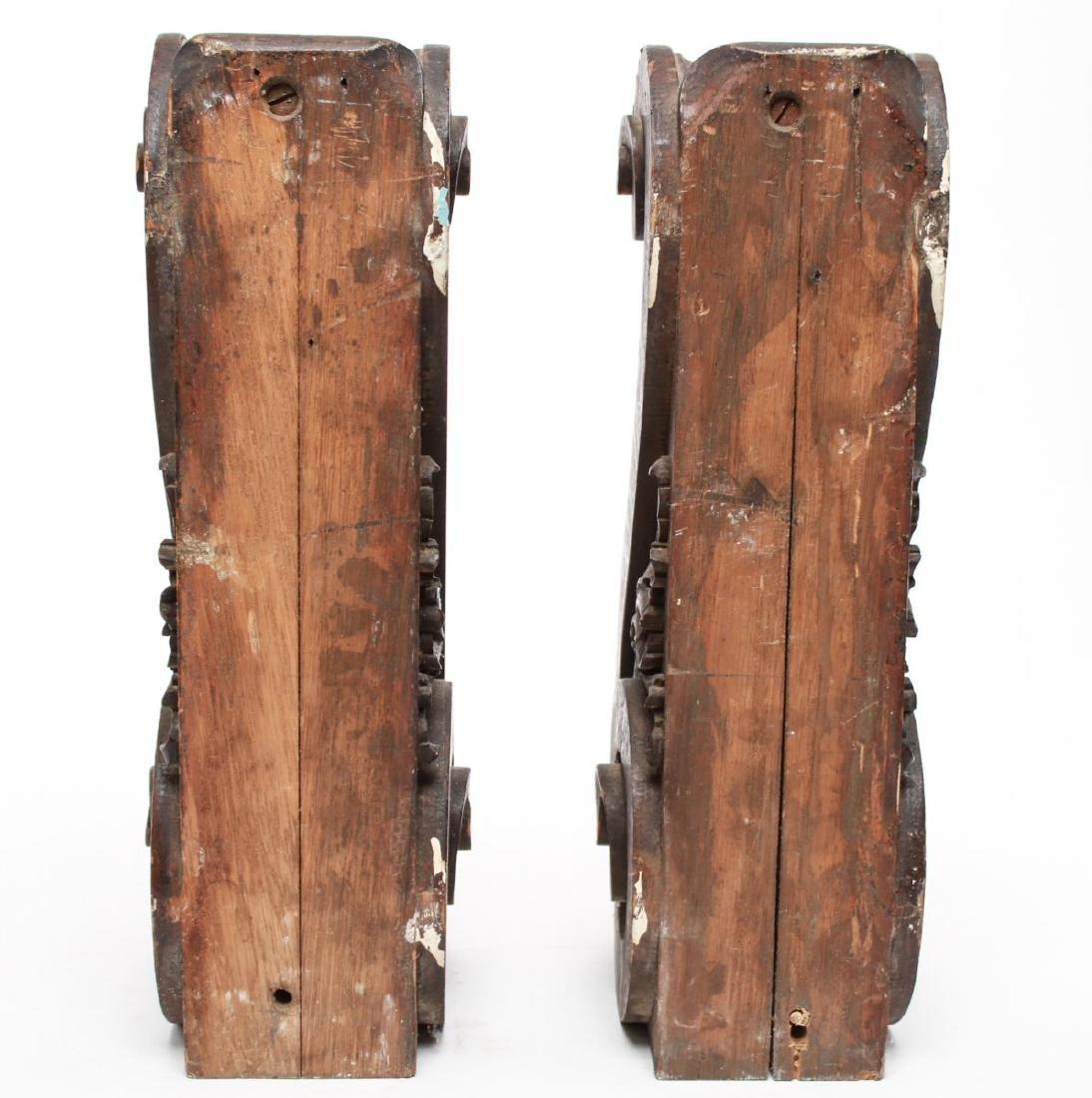 Architectural Corbels, Carved Oak, Antique Pair - 4