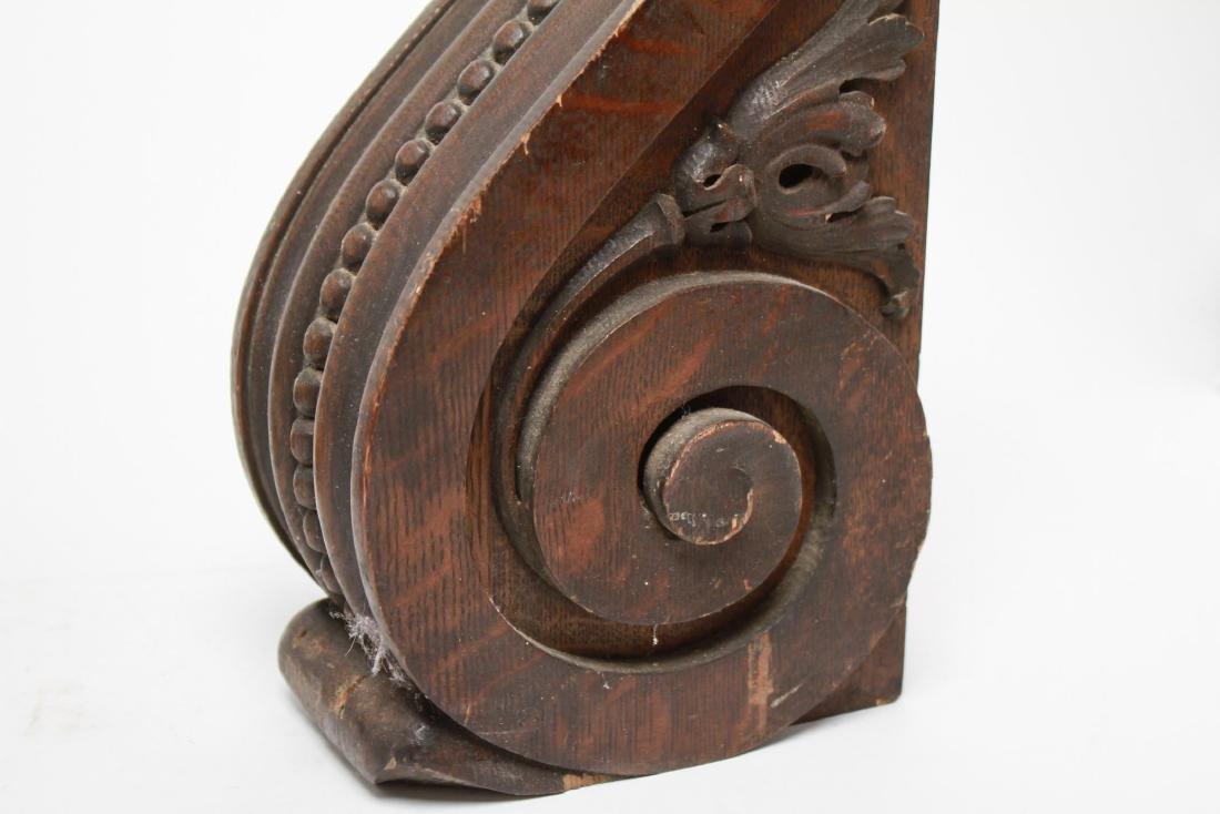 Architectural Corbels, Carved Oak, Antique Pair - 6