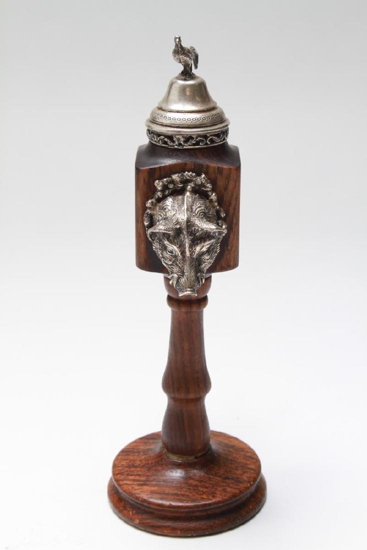 Silver & Wood Spice Mill w Boar's Head & Pheasant - 2