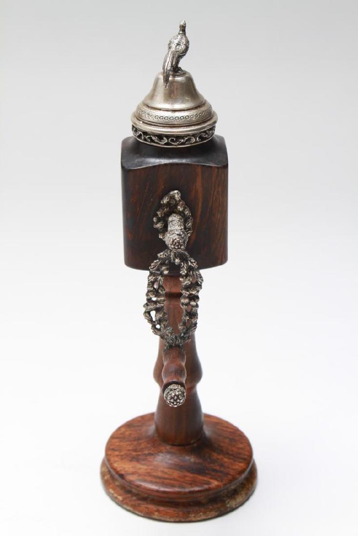 Silver & Wood Spice Mill w Boar's Head & Pheasant - 4