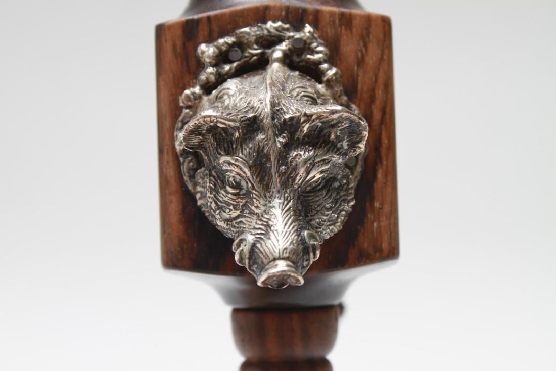 Silver & Wood Spice Mill w Boar's Head & Pheasant - 6