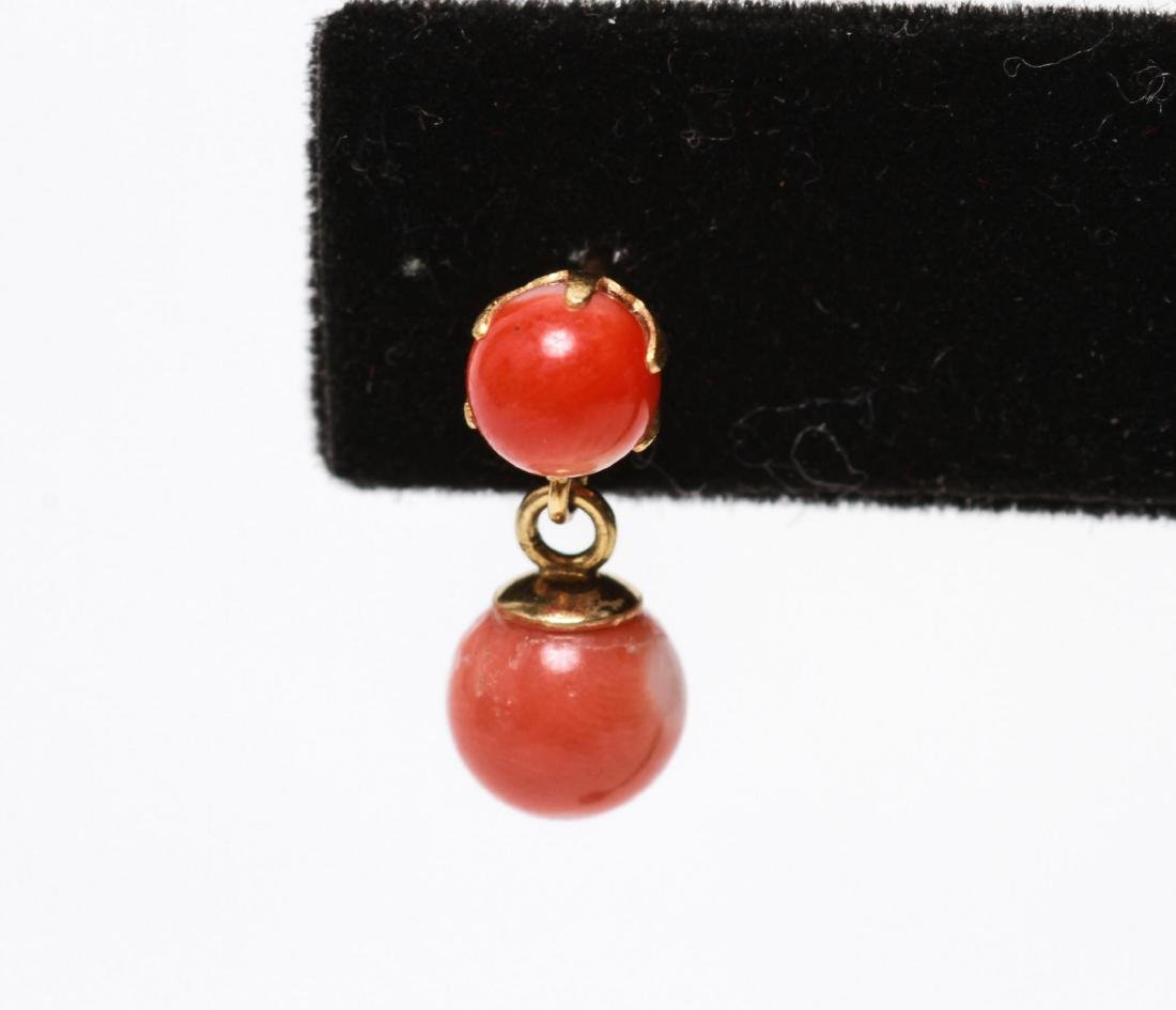 14K Gold and Coral Dangle Post Earrings, Pair - 3